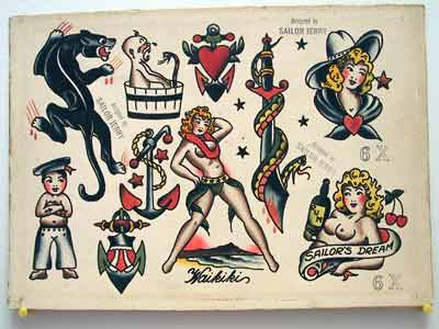 sailor jerry traditional flash art  Cowgirl sheet. Sailor Jerry
