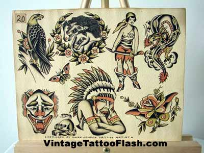 Traditional Tattoo Flash Owen Jensen Tattoo Flash Sheet · click to enlarge