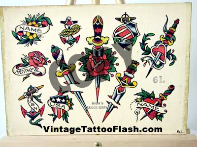 Dagger Tattoos on Vintage Tattoo Flash Sailor Jerry Tattoo Flash Copies For Sale  Sailor